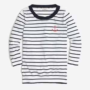 J.Crew Anchor Striped 3/4 in. blue white sweater S